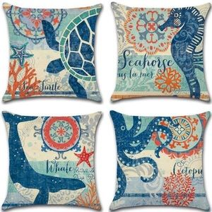 Other - 4 Ocean Pillow Covers Mediterranean Seahorse